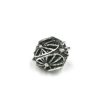 8pcs x 11mm spike - web bead - antique silver plated - 4000078